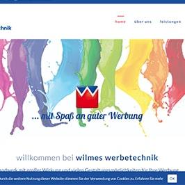 Homepage Referenz wilmes werbetechnik, Hamm